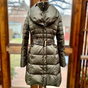 IVANKA TRUMP Belted Down Coat with Shawl Collar